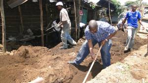 Digging a foundation for a housing project